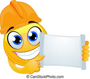 Smiley Emoticon wearing a helmet Engineer while holding a blank open paper board