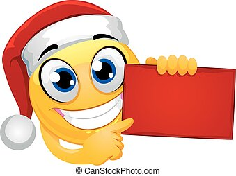 Smiley Emoticon wearing Santa Hat while Holding Red Blank Board