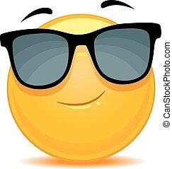 Smiley Emoticon wearing sunglasses