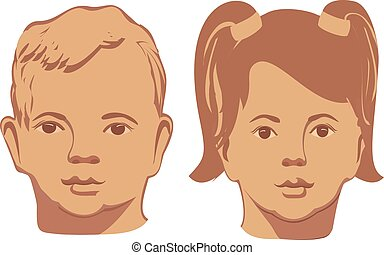Vector illustration of smiling baby faces on a white background