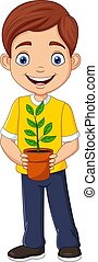 Smiling boy holding a potted plant in hand