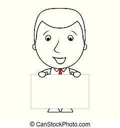Smiling businessman line cartoon holding a blank sign