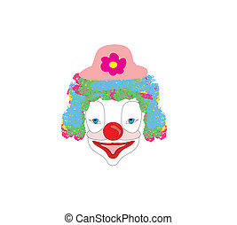 Vector illustration of smiling cartoon clown