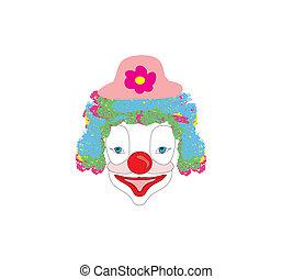 Vector illustration of smiling cartoon clown