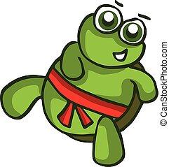 Vector illustration of smiling cartoon turtle