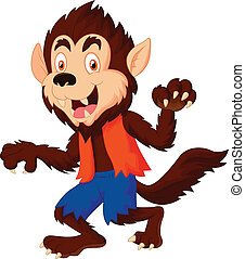 Smiling cartoon werewolf