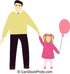 Vector illustration of smiling father with his little daughter.