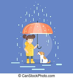 Vector illustration of smiling girl in a yellow raincoat