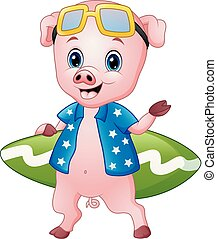 Smiling pig cartoon with surfboard