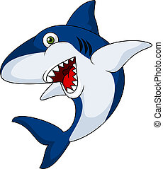 Smiling shark cartoon - Vector illustration of Smiling shark...