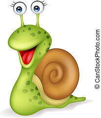 Vector illustration of Smiling snail cartoon