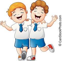 Smiling two kids in a uniform school