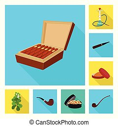 Vector illustration of smoke and statistics icon. Set of...