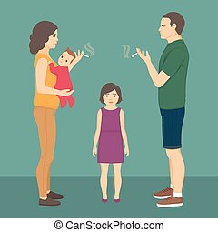 smoking parent. baby, child health. father smoke cigarette, addiction