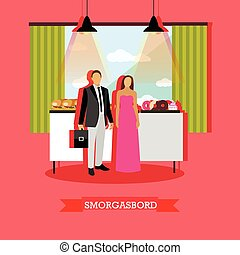 Vector illustration of smorgasbord design element in restaurant with visitors