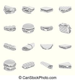 Isolated object of snack and fresh logo. Collection of snack and dinner vector icon for stock.