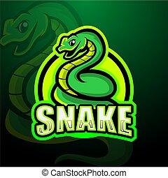 Snake mascot esport logo design