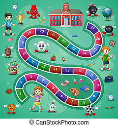Vector illustration of Snakes and ladders game school theme