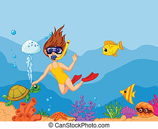 Snorkeling girl cartoon