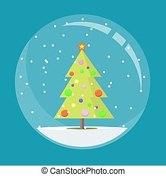 vector illustration of snow globe with christmas tree inside.