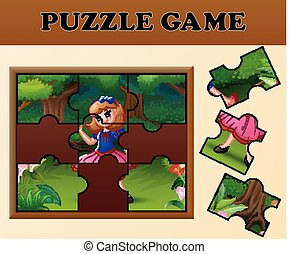 Snow White in the forest with puzzle concept