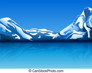 snowy mountains - vector illustration of snowy mountains ...