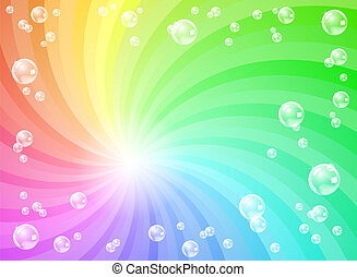 soap bubbles in front of colorful background