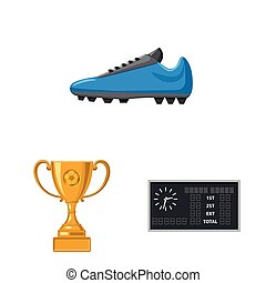 Vector illustration of soccer and gear sign. Collection of soccer and tournament stock symbol for web.