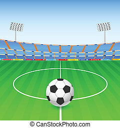 Soccer ball on stadium - vector illustration of Soccer ball...