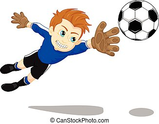 vector illustration of Soccer football goal keeper saving a goal