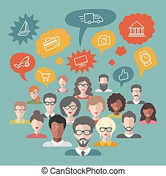 Vector illustration of social media icons in speech bubbles with group of people in trendy flat style.