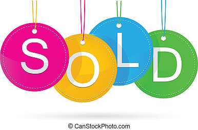 sold icon with color - vector illustration of sold icon with...