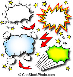 cartoon explosions - vector illustration of some cartoon ...