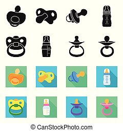 Vector illustration of soother and pacifier icon. Set of soother and care stock symbol for web.