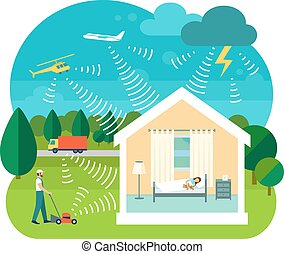 Vector illustration of soundproofing house - Flat style...