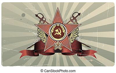 star shaped Insignia - Vector illustration of sovietic star...