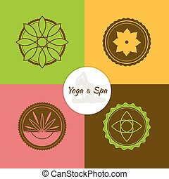 Spa and yoga lables set - Vector illustration of Spa and...