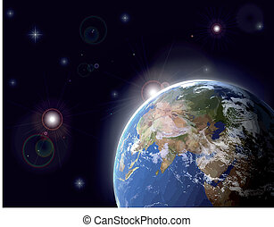 Vector illustration of space and stars - 3D Model of Earth...
