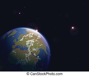 Vector illustration of space earth and stars
