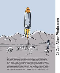Vector illustration of space rocket launch
