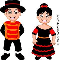 spanish traditional costume cartoon