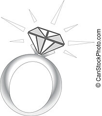 Sparkle Diamond Ring - Vector Illustration of Sparkle...