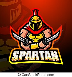 Spartan warrior mascot esport logo design - Vector ...