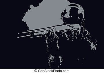 Vector illustration of spec ops soldier