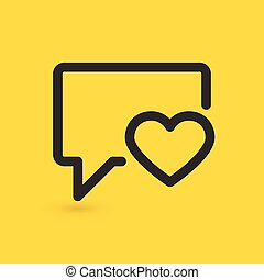 Vector illustration of speech bubble icon with heart. vector illustration.