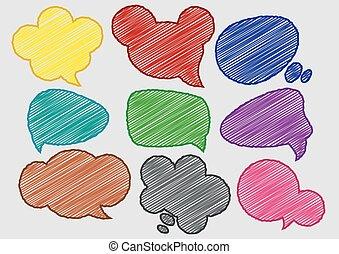 Speech Bubbles Colorful Pen Shading