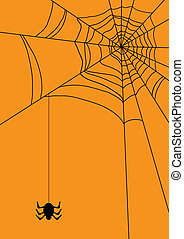 web with spider - Vector illustration of spider?s web with...