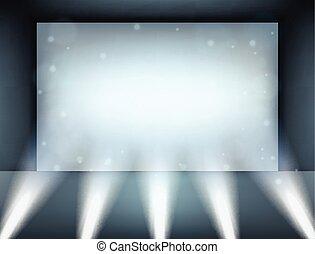 Spotlight shining on billboard