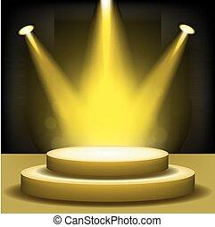 Spotlight shining on empty stage - Vector Illustration Of...