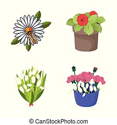 Vector illustration of spring and wreath logo. Set of spring and blossom stock symbol for web.